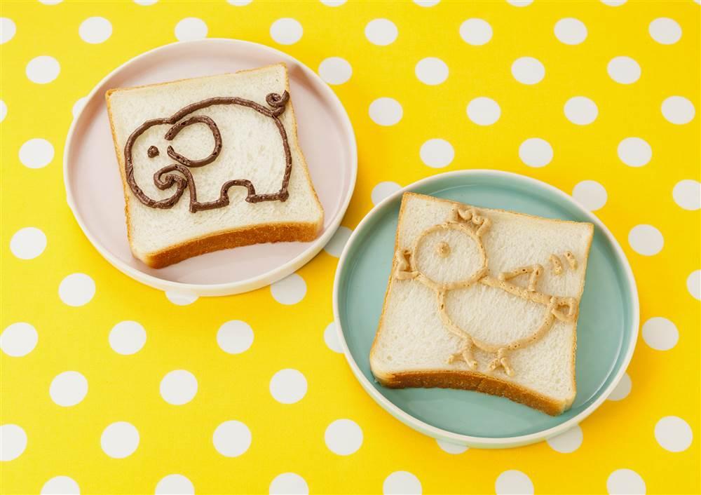 写真:お絵かきパン ゾウとニワトリ