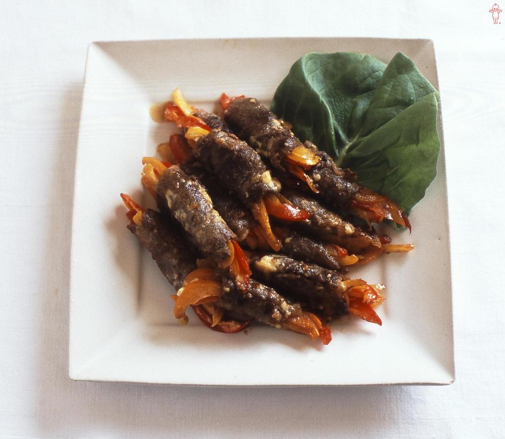 写真:パプリカの牛肉ロール マヨネーズ焼き
