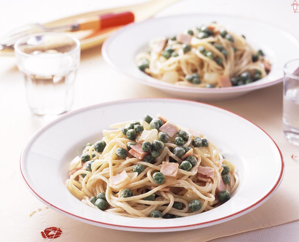 写真:グリーンピースのスパゲッティ