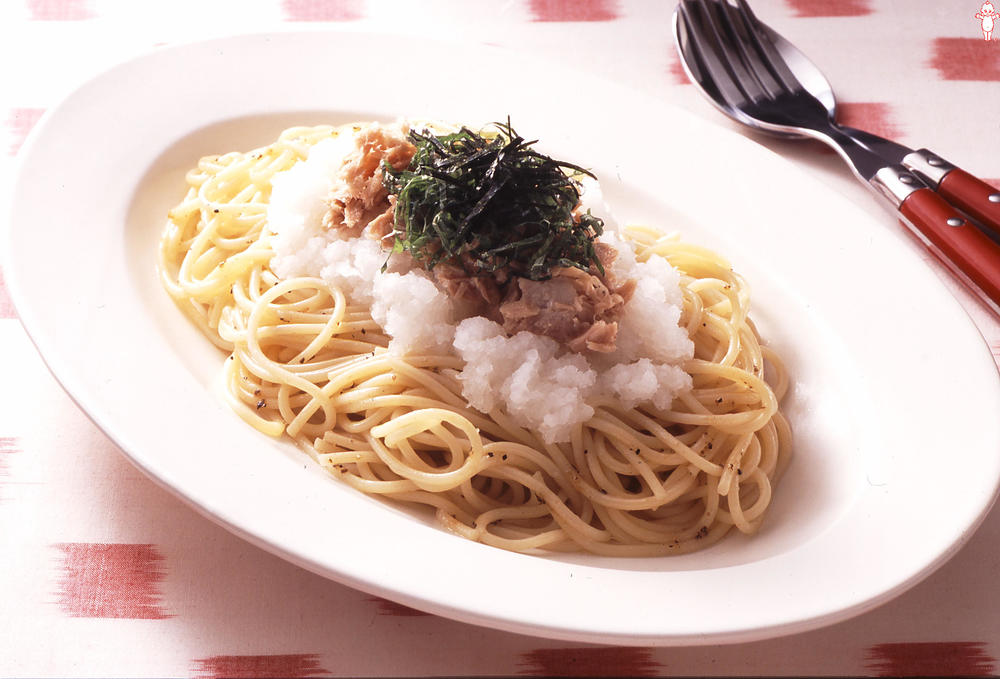 写真:大根おろしとツナの冷製スパゲッティ