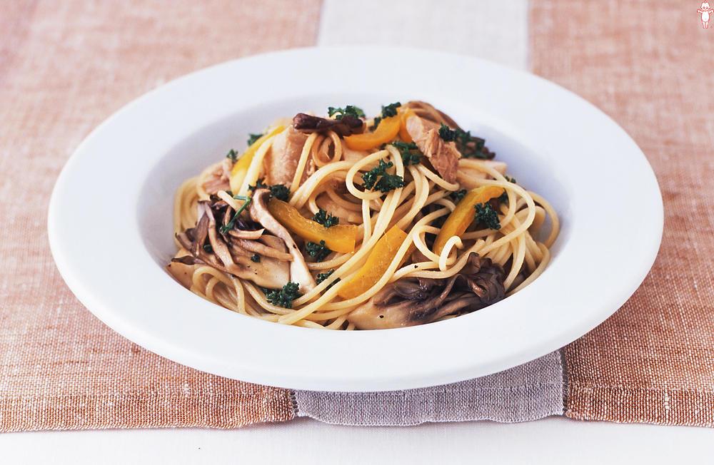 写真:きのことツナのスパゲッティ