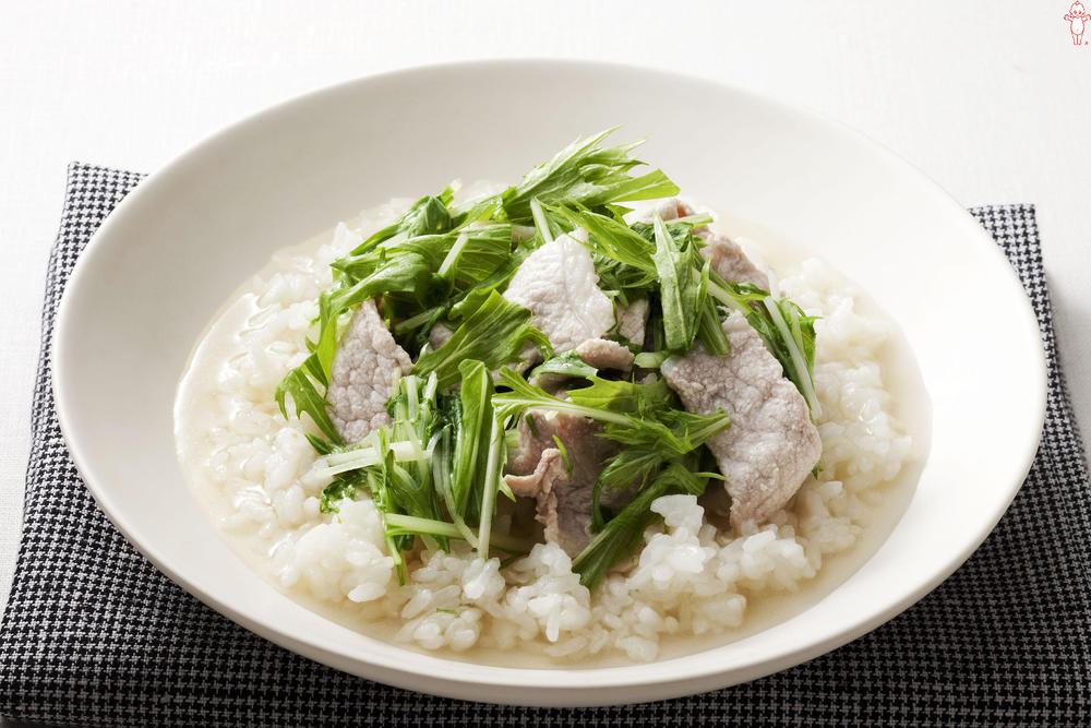 写真:水菜と豚肉のスープごはん