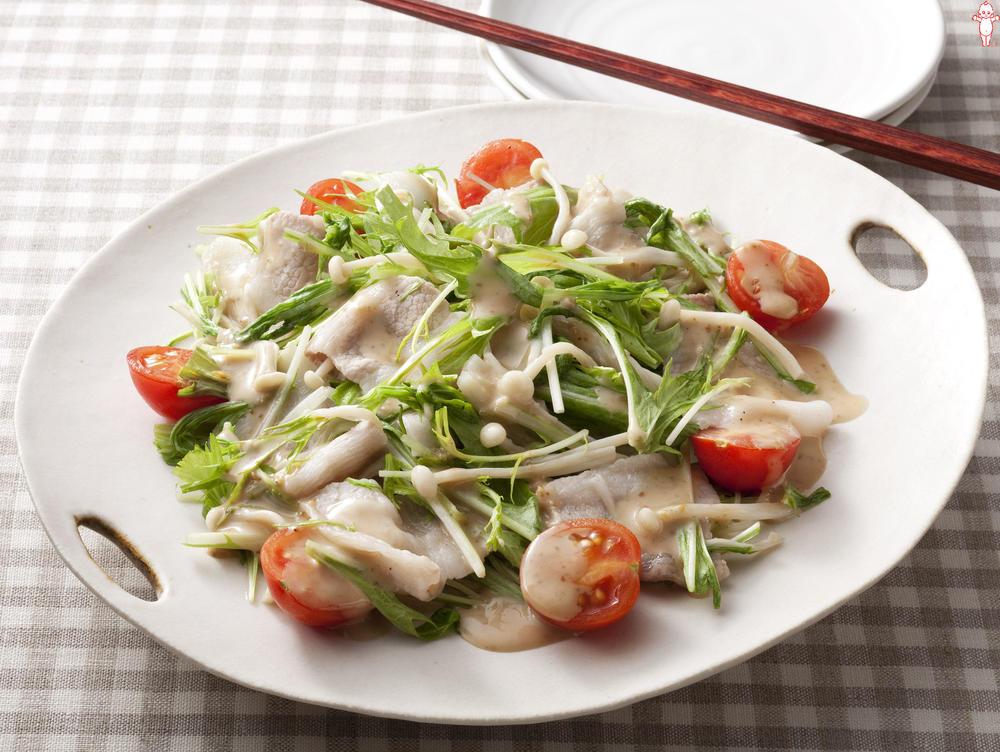 写真:レンジでかんたん!水菜と豚ばら肉のハリハリ蒸しサラダ