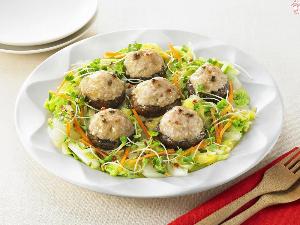 写真:レンジでかんたん!白菜とつくねしいたけの蒸しサラダ