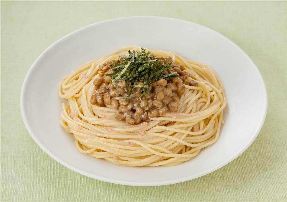 写真:たらこ納豆スパゲッティ