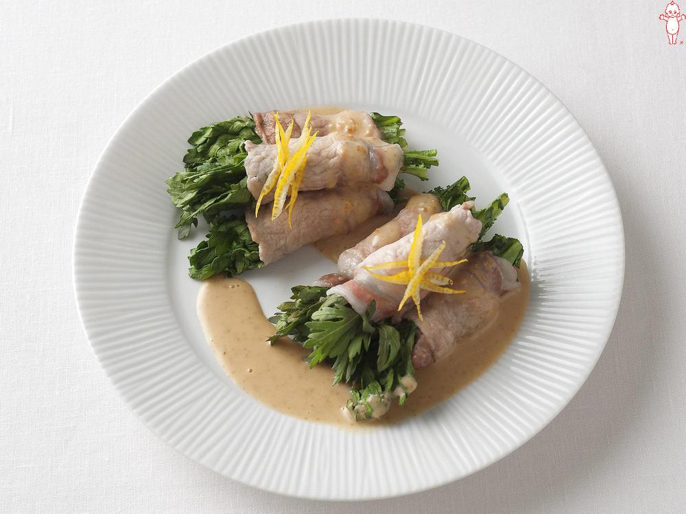 写真:レンジでかんたん!春菊の豚肉巻きサラダ