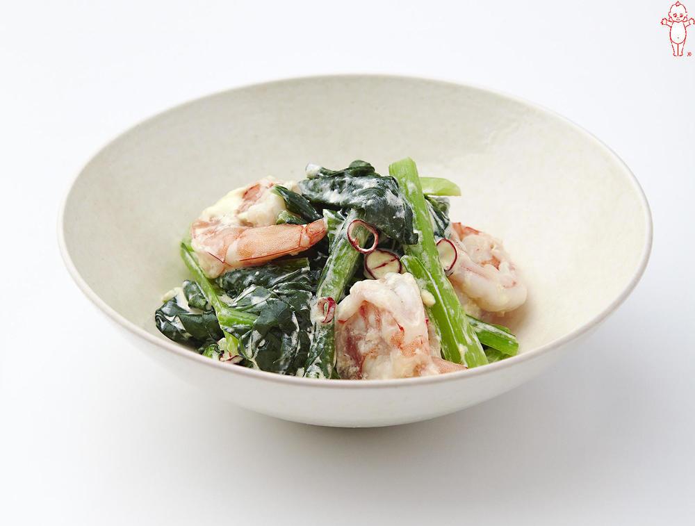 写真:えびと小松菜のピリ辛マヨ炒め