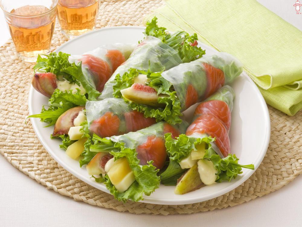 写真:水菜といちじくの生春巻きサラダ