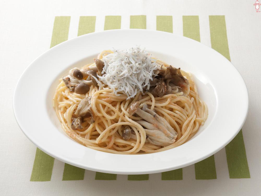 写真:きのことしらすのたらこスパゲッティ