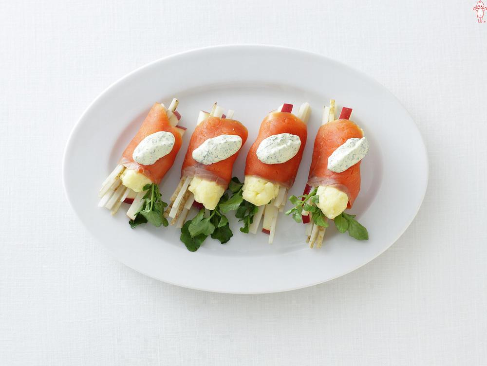 写真:マッシュポテトとごぼうの巻きサラダ イタリアンマヨソース