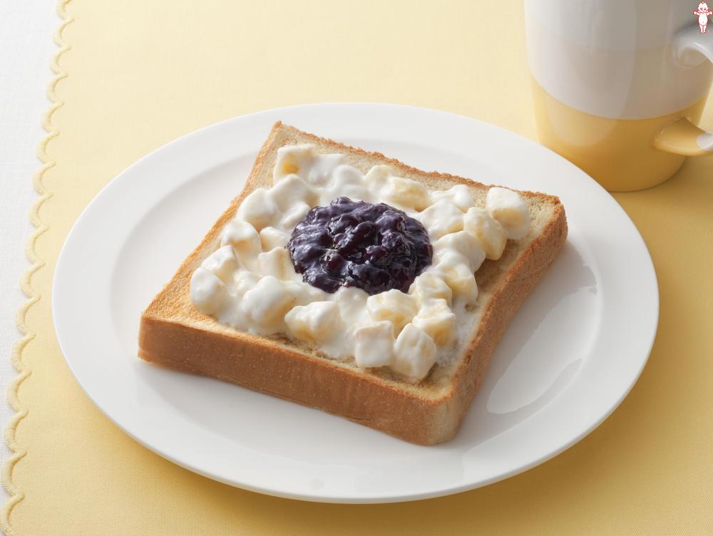 写真:バナナヨーグルトのブルーベリートースト