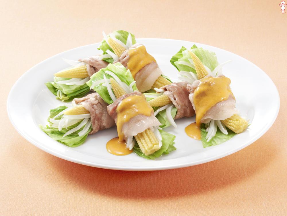 写真:レンジでかんたん!レタスとヤングコーンの豚肉巻きサラダ
