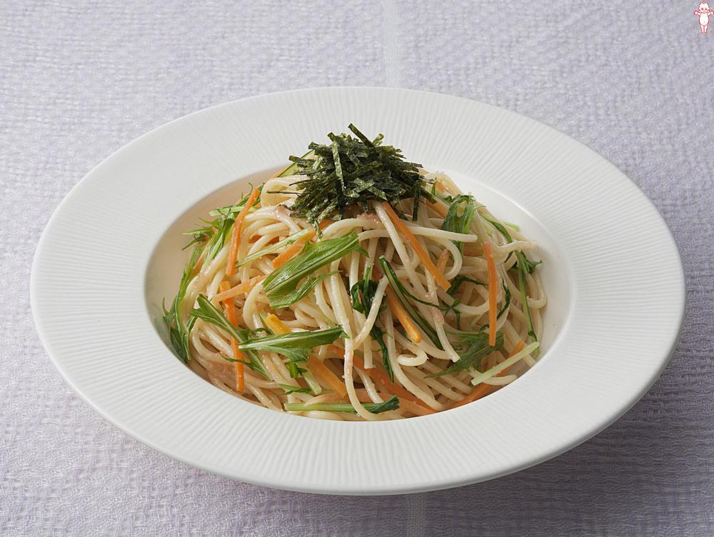 写真:水菜のたらこスパゲッティ