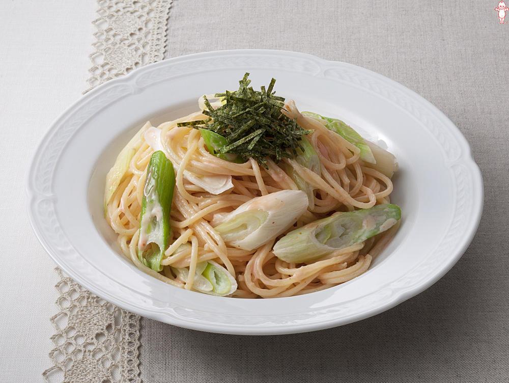 写真:長ねぎのめんたいマヨスパゲッティ