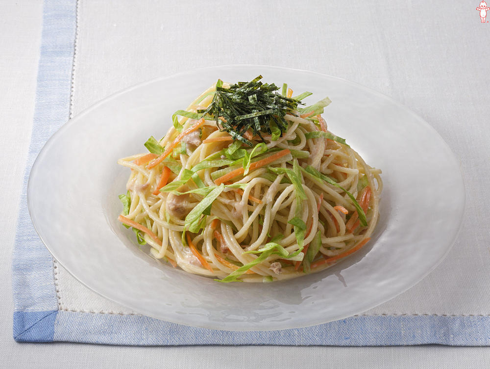 写真:レタスとにんじんのツナマヨスパゲッティ