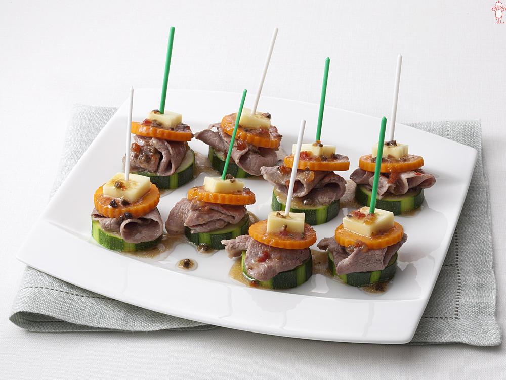 写真:ズッキーニと牛肉のピンチョスサラダ