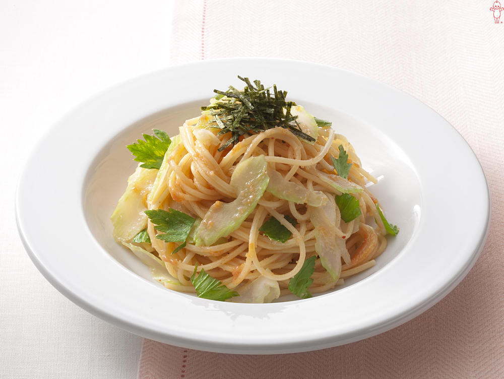 写真:セロリのからし明太子スパゲッティ