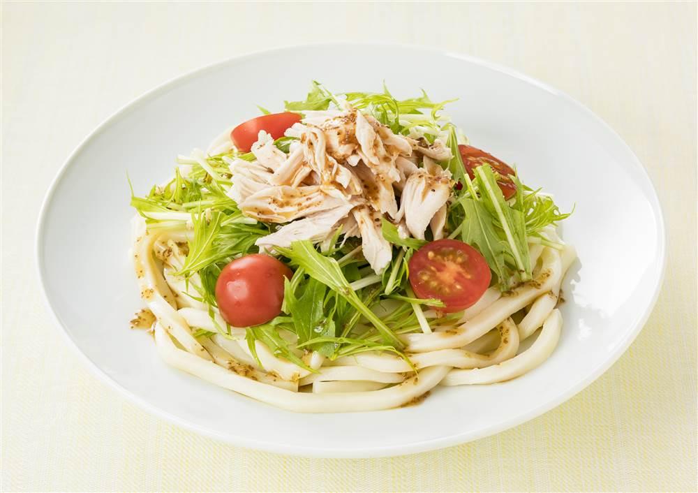 写真:水菜と鶏ささみのサラダうどん