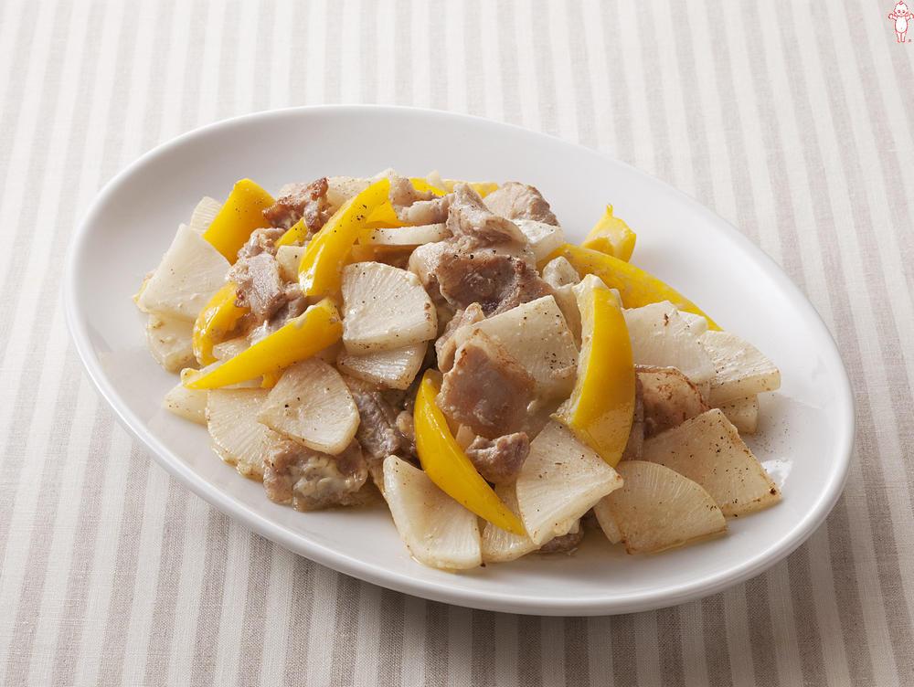 写真:大根と豚肉のマヨネーズ炒め