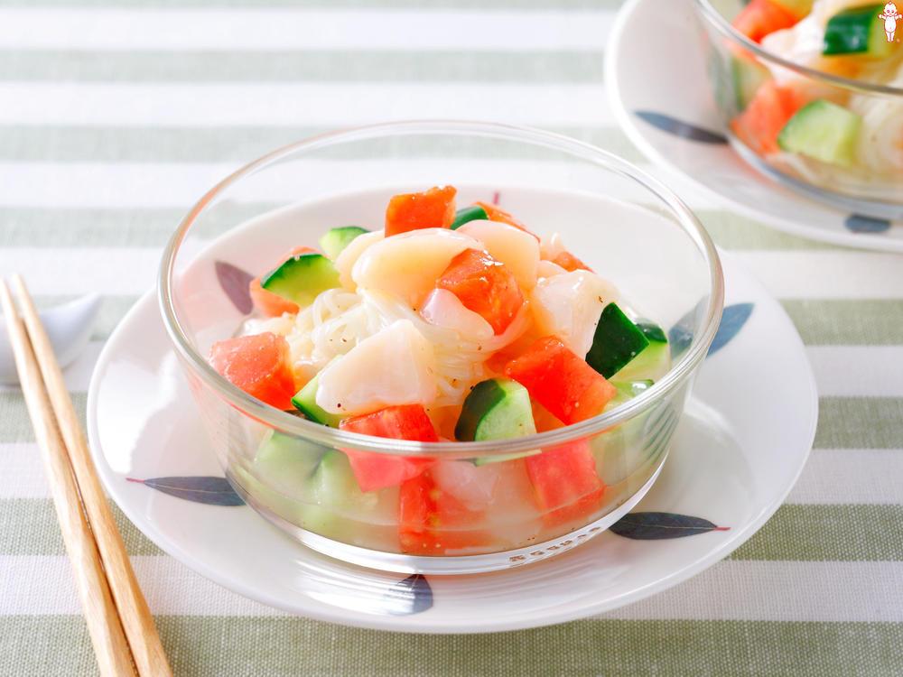写真:ほたてとトマトのそうめんサラダ