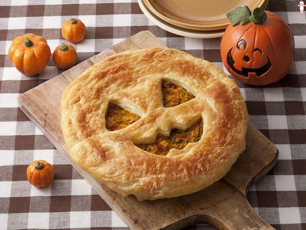 写真:ハロウィンおばけのパンプキンいちごパイ