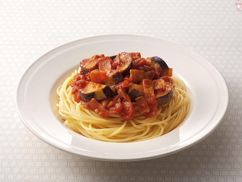 写真:なすとベーコンのガーリックトマトスパゲッティ