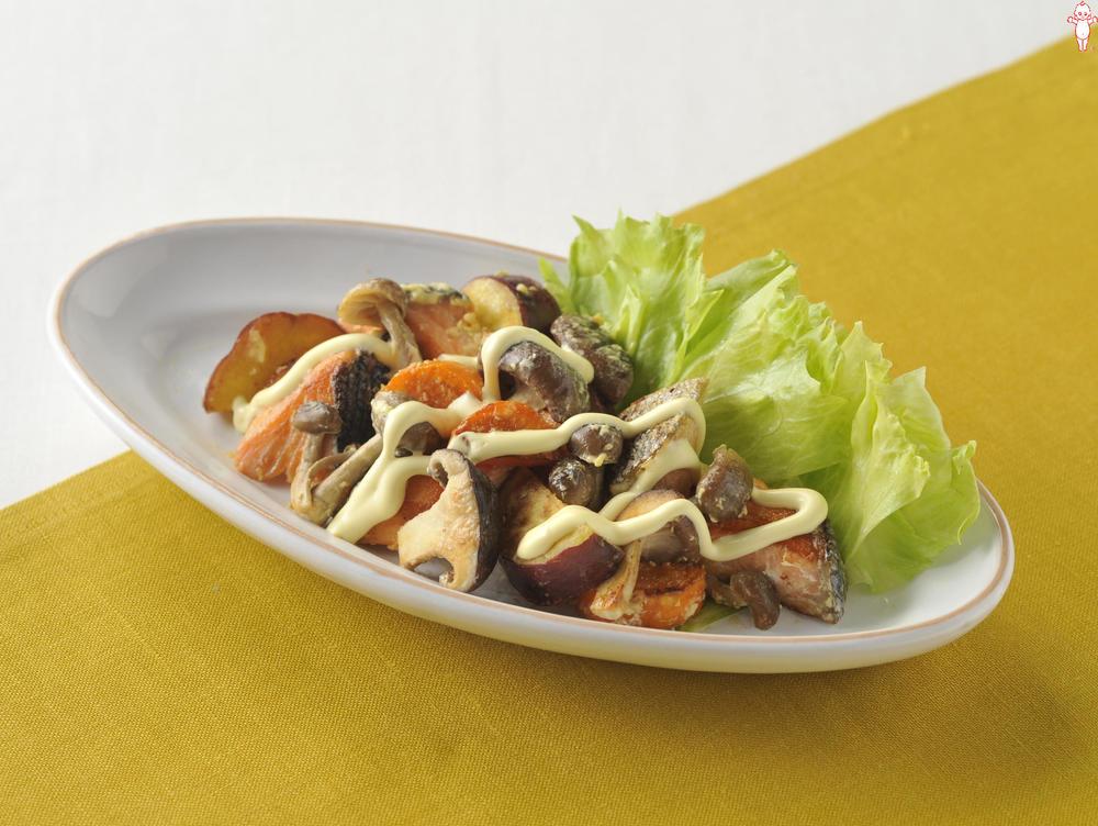 写真:鮭と秋野菜のホットサラダ