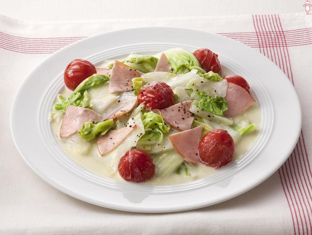 写真:白菜とハムのマヨネーズ炒め