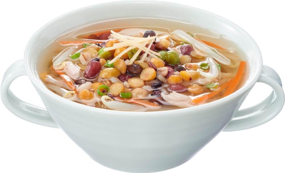 写真:豆と穀物のしょうがスープ