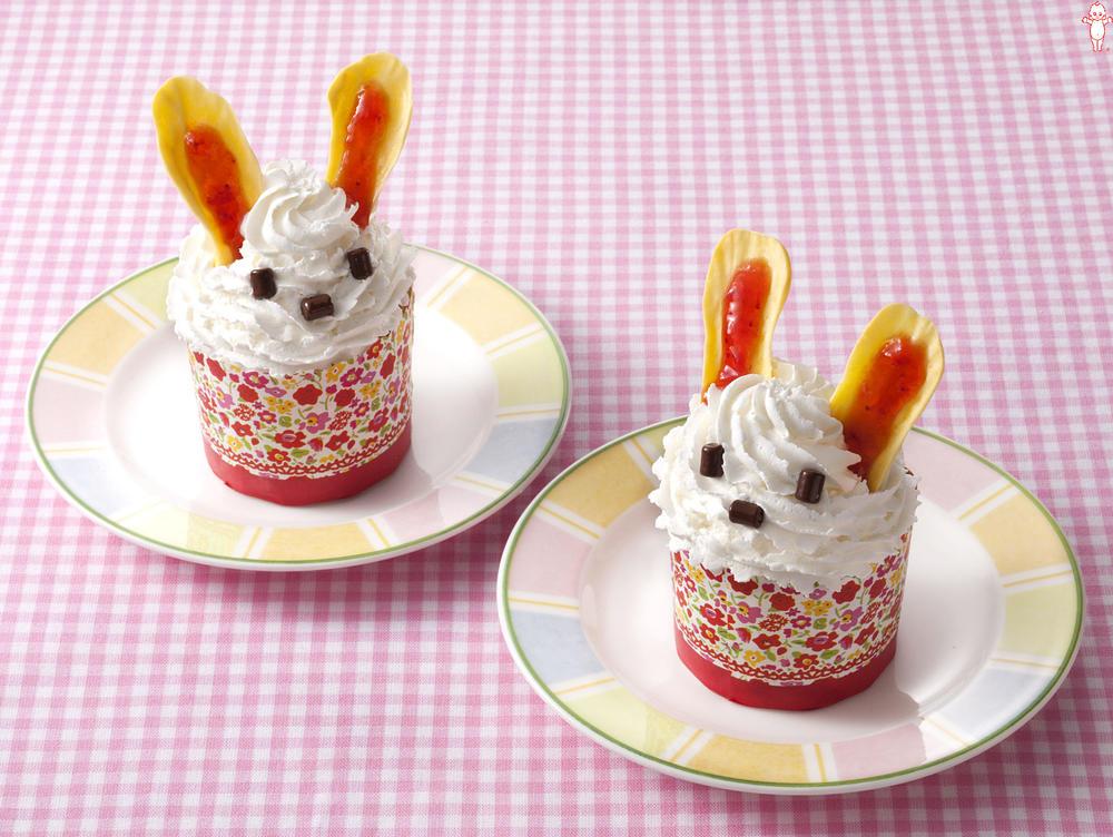 写真:うさぎストロベリーカップケーキ