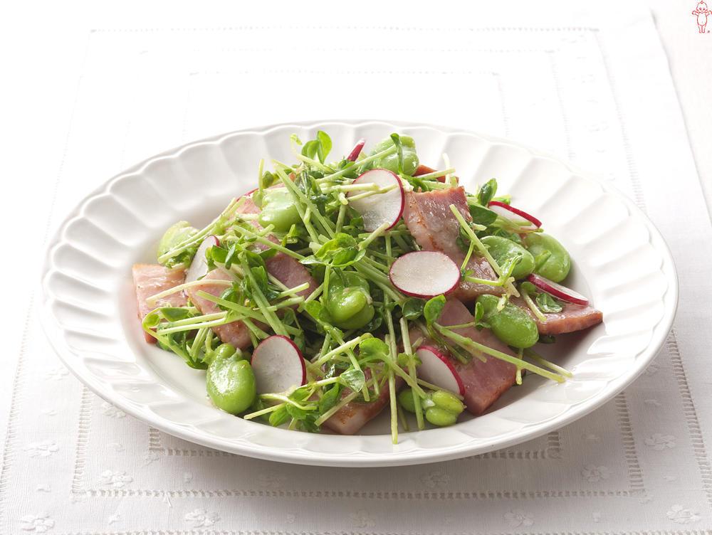 写真:そら豆と豆苗のあえサラダ