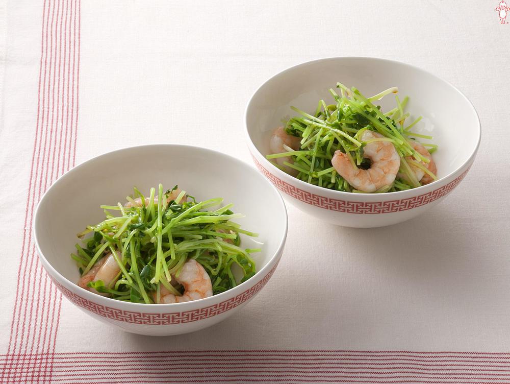 写真:豆苗とえびの中華風サラダ