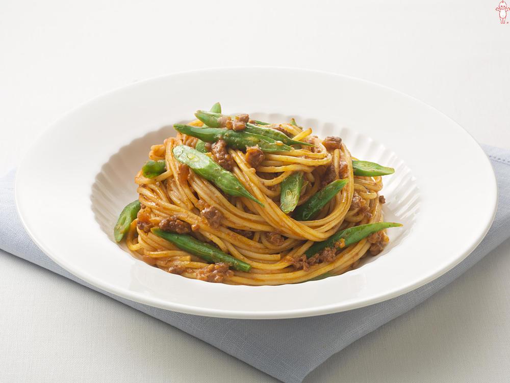 写真:いんげんのミートソーススパゲッティ