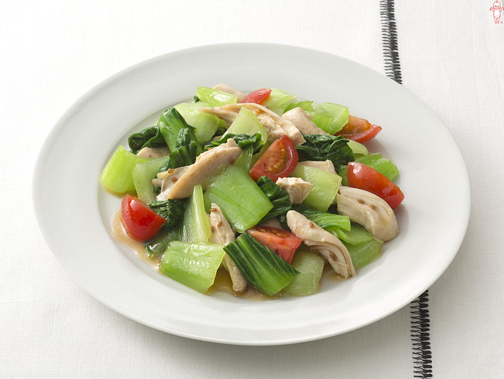 写真:チンゲン菜と鶏ささみのあえサラダ