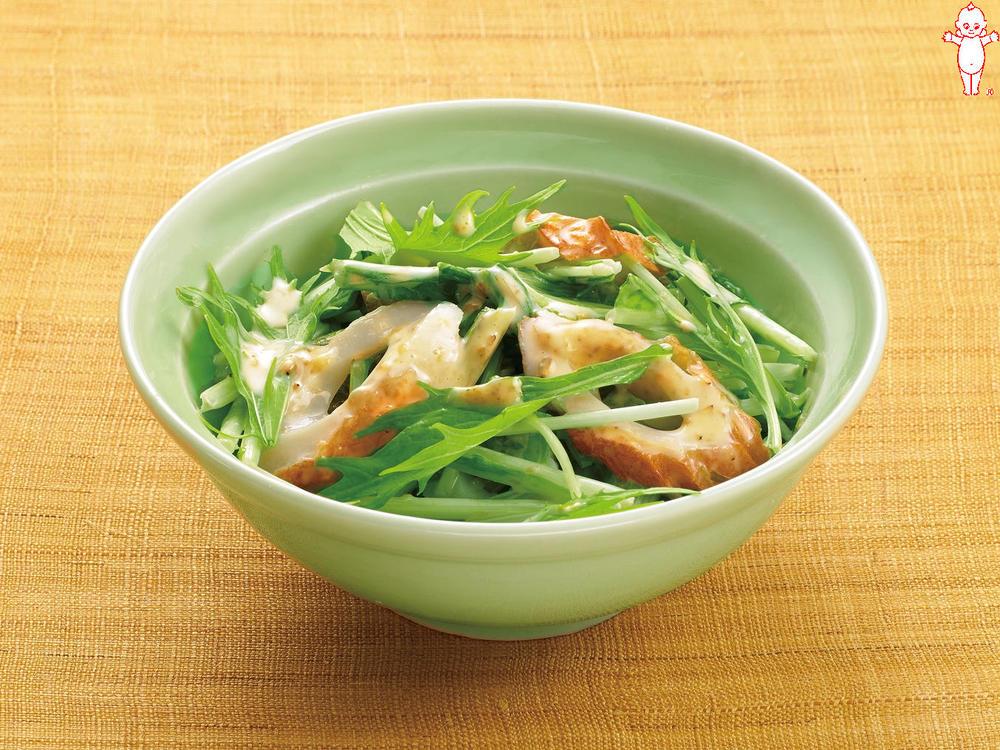 写真:水菜とちくわのごまマヨネーズ和え