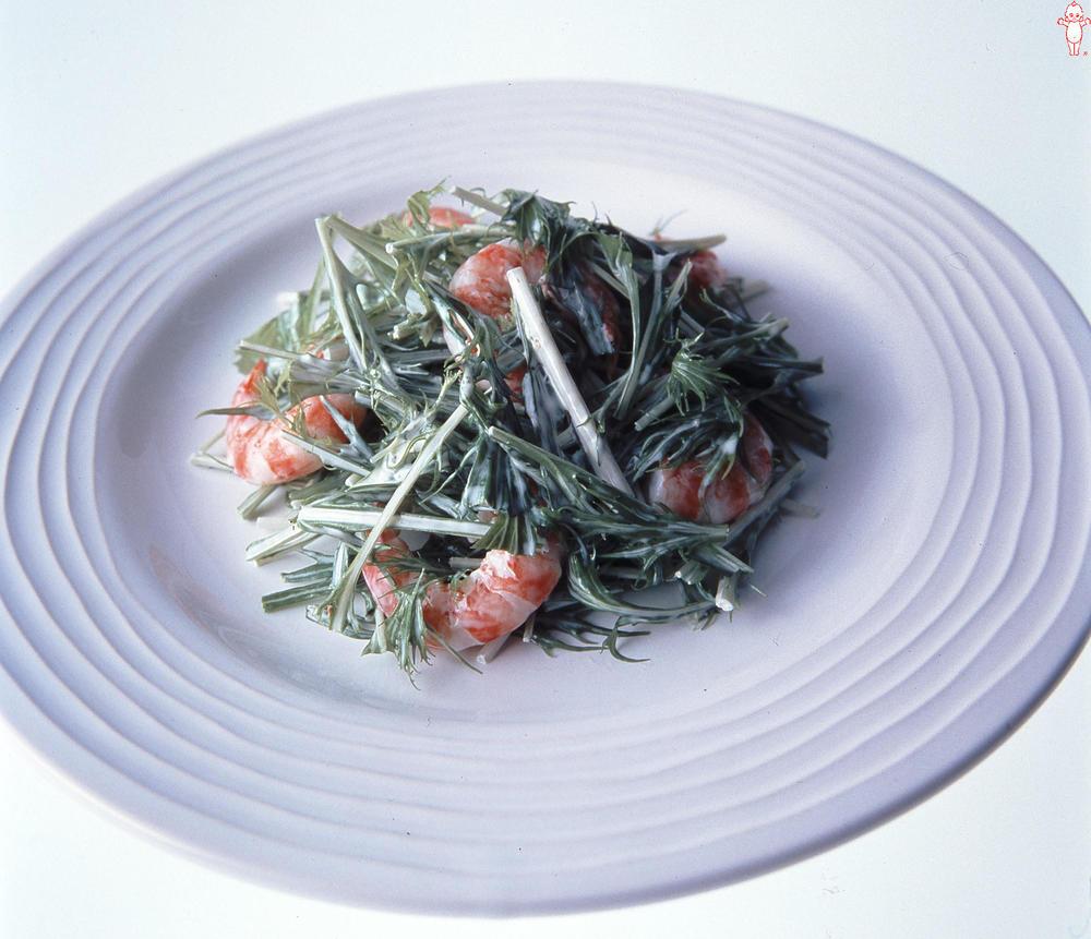 写真:水菜とえびのサラダ