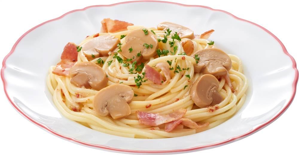 写真:マッシュルームとベーコンのスパゲッティ