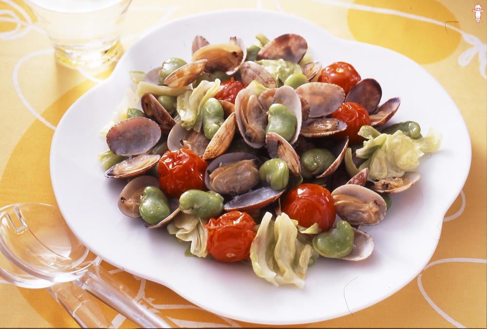 写真:そら豆とあさりのマヨネーズ炒め