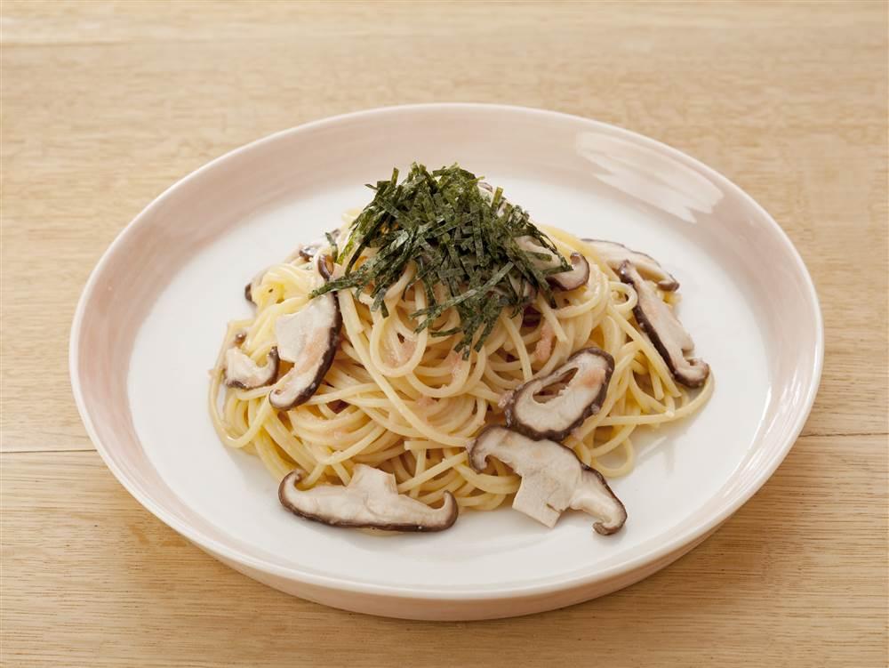 写真:しいたけのたらこスパゲッティ