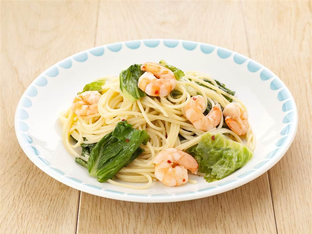 写真:ロメインレタスとえびのスパゲッティ