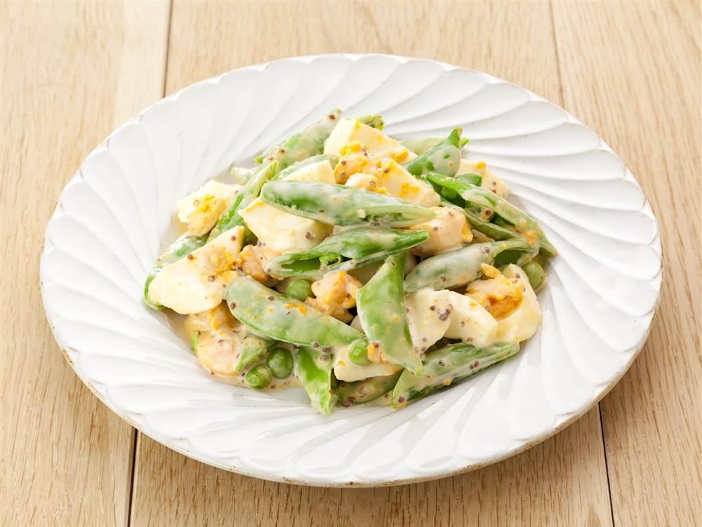 写真:スナップえんどうとゆで卵のあえサラダ