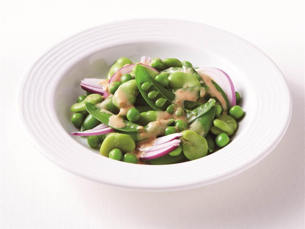 写真:まるごとスナップえんどうと3種の豆のサラダ