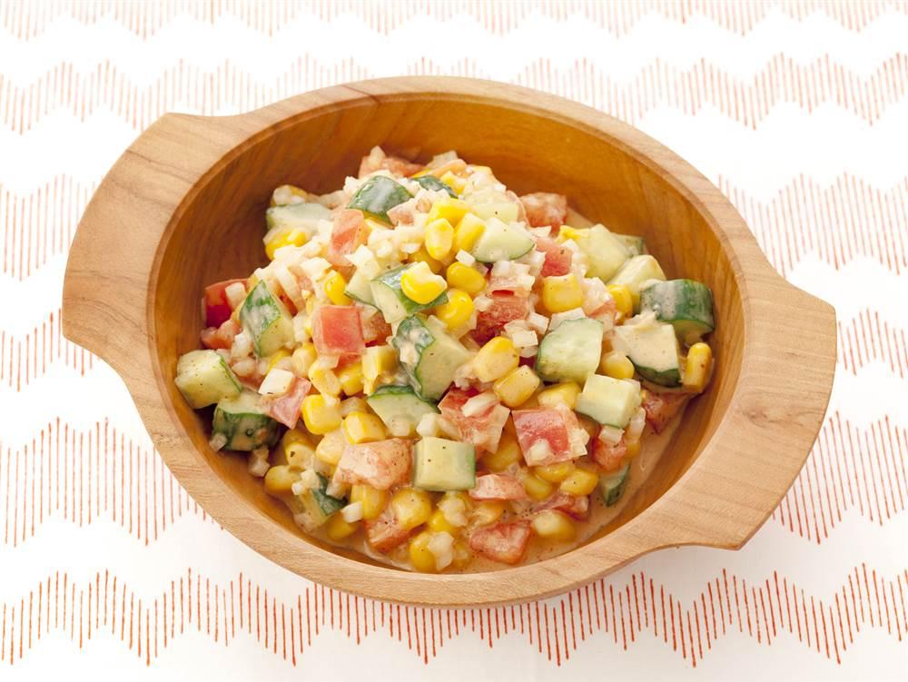 写真:カラフル野菜のスパイシーサラダ