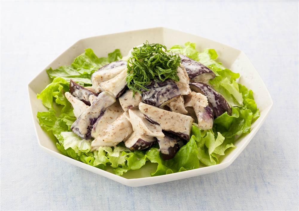 写真:鶏ささみとなすのサラダ