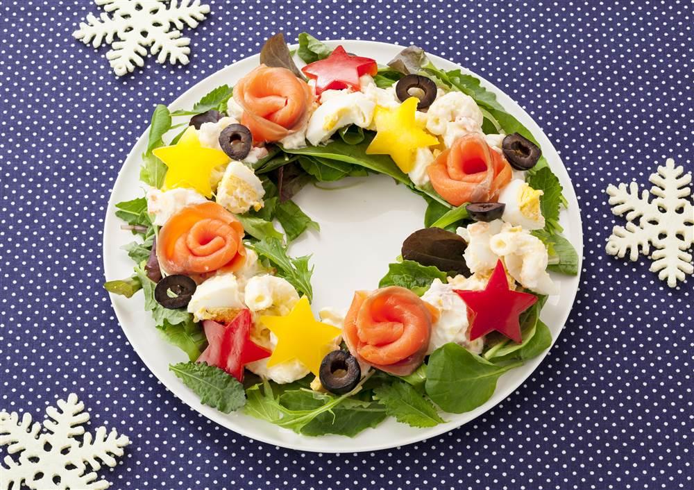 写真:たまごとマカロニのクリスマスリースサラダ