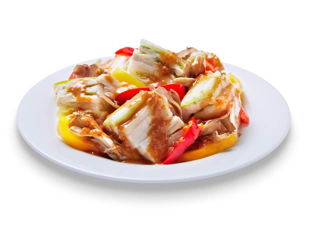 写真:鶏ささみと白菜の重ね蒸しサラダ