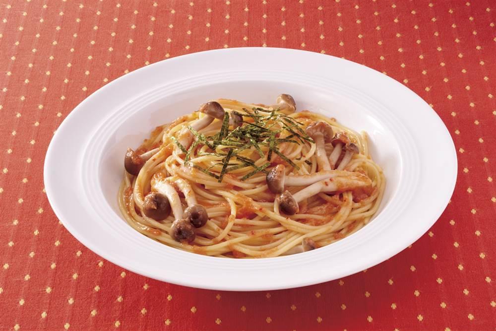 写真:おうちの野菜で!きのこのからし明太子スパゲッティ