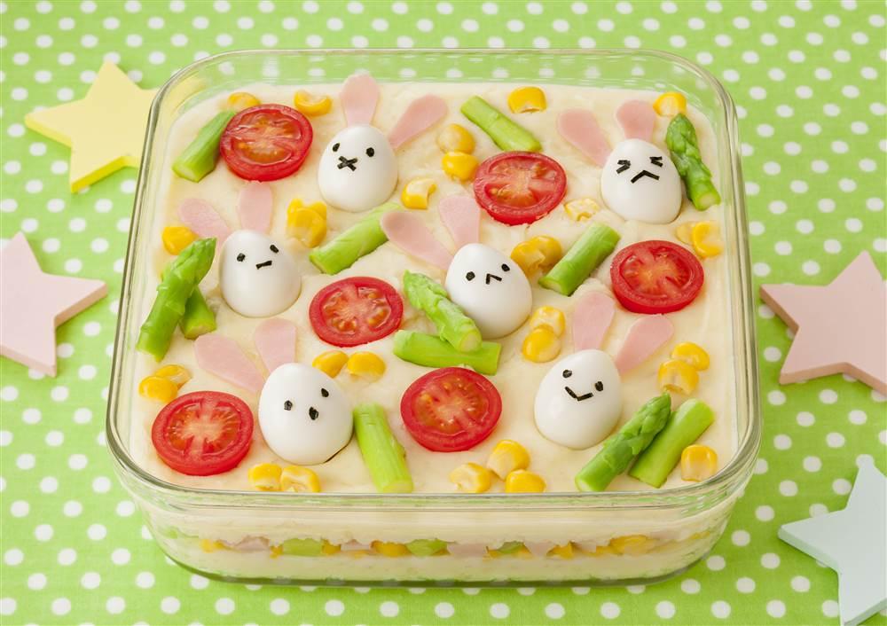 写真:うずら卵のイースタースコップポテサラ