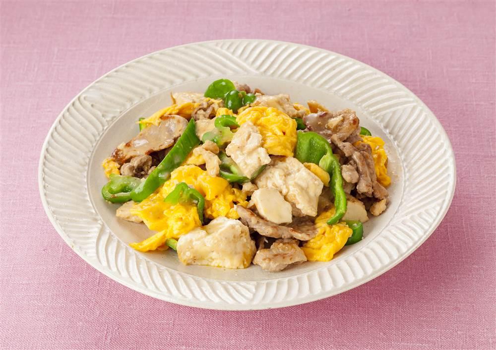 写真:豆腐と豚肉のすりおろしオニオン炒め