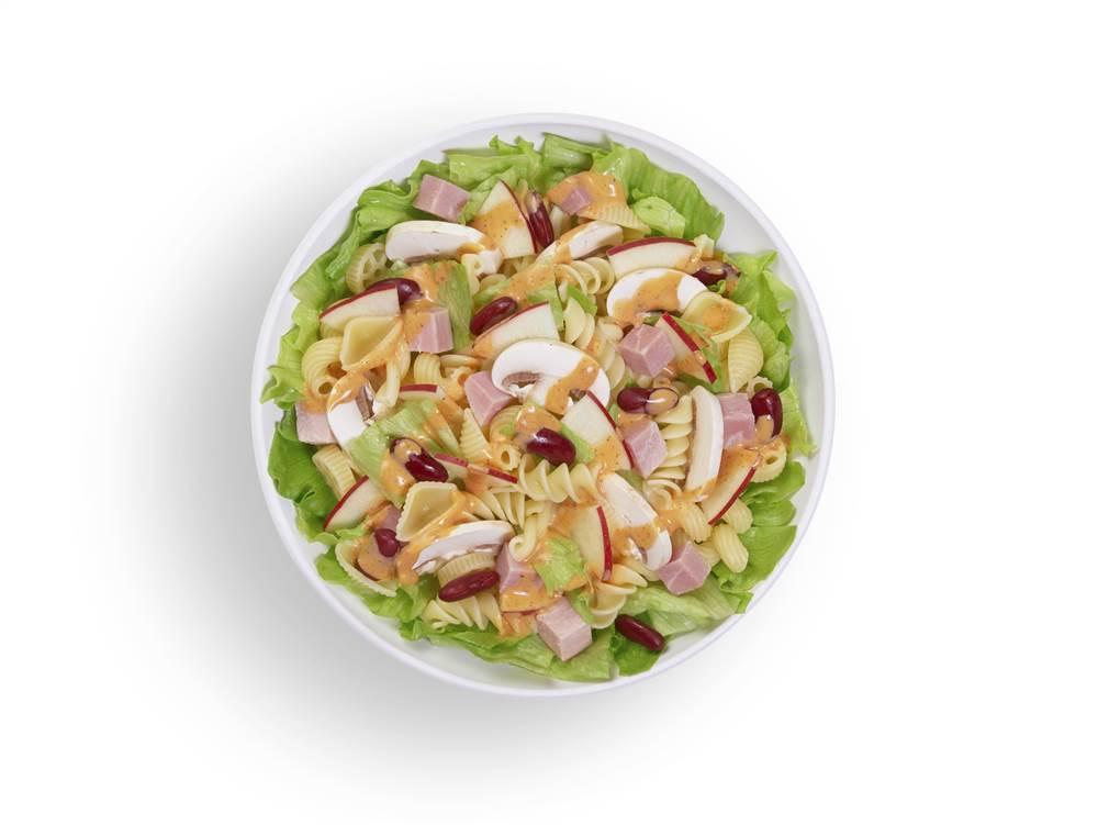 写真:りんごとマッシュルームとハムのパワーサラダ